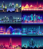 Brazil Russian France Japan India Egypt China USA city night neon style architecture buildings town country travel