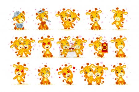 Illustration for Set Vector Stock isolated Emoji have date let s go out marry me hello hi waving in love sleepy you are cute dance miss sick hugs be mine drink party friend character cartoon giraffe stickers emoticon. - Royalty Free Image