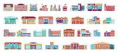 Vector set isolated icons architecture buildings in flat style