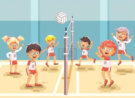 Vector illustration back to sport school children character schoolgirl schoolboy pupil classmates team game playing volleyball ball physical education class gymnasium gym background flat style
