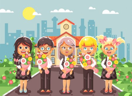 Stock vector illustration cartoon characters child...
