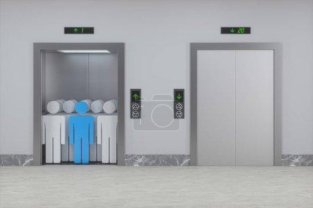 The elevator in the corridor, 3d rendering. Comput...