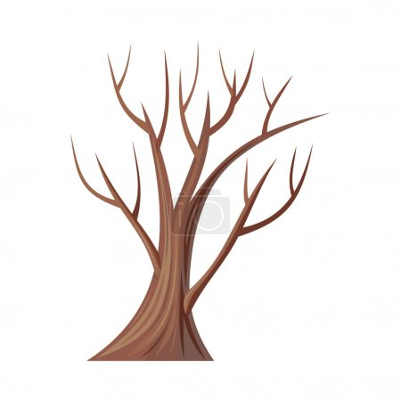 Vector tree. Oak isolated on white. Bare tree with...