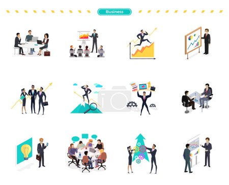 Illustration for Set of business banner teamwork and solution. Success businessman searching for oppotrunities, professional support, knowledge and teamwork, business solution, strategic management, human resources - Royalty Free Image
