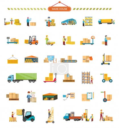 Illustration for Set of Warehouse icons. Flat design. Warehouse, elevator, container, truck, ladder, conveyor, weight, hangar, package box worker messenger courier pictograms for cargo and delivery services - Royalty Free Image