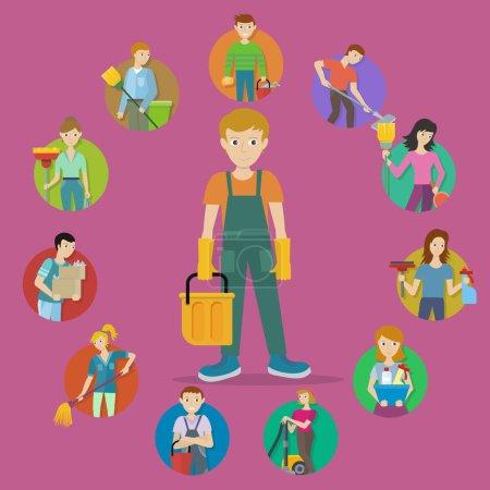 Illustration pour Service de nettoyage. Ensemble de photos d'utilisateurs avatar de membres masculins et féminins du personnel de nettoyage avec de l'équipement. Travailleurs de l'entreprise de nettoyage. Bannière de ménage. Nettoyage bureau et hôtel. Vecteur - image libre de droit