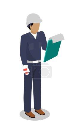 Worker in Uniform Vector Illustration Flat Design