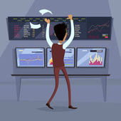 Business success illustration Flat style design vector Great deal good day concept Happy man with raised hands enjoying his success Getting result Online trading Isolated on white background