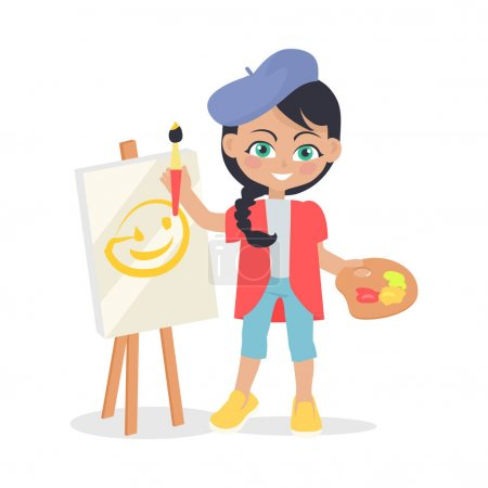 Illustration for Girl drawing on easel isolated on white. Adorable little girl has leisure time. Young painter at drawing lesson. Toddler at playground draws a picture in flat style design. Daily activity. Vector - Royalty Free Image