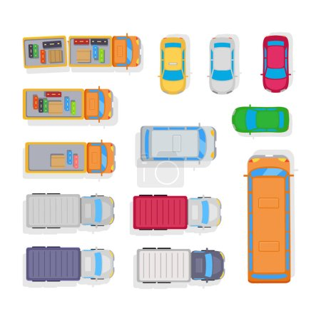 Illustration for Parking space of cars, bus, baggage in trailer of lorry. Public and private transport. View from the top. For camp scheme or boy cutting-out. Vector illustration isolated in flat style design - Royalty Free Image