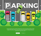 Parking Top View Vector Web Banner in Flat Design