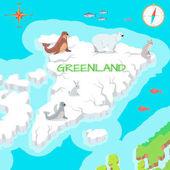 Greenland Mainland Cartoon Map with Fauna Species
