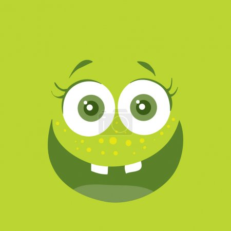 Illustration for Funny smiling monster. Smile character. Happy germ with tooth. Monster with big eyes and mouth. Vector cartoon funny bacteria illustration in flat style design. Friendly virus. Microbe face - Royalty Free Image