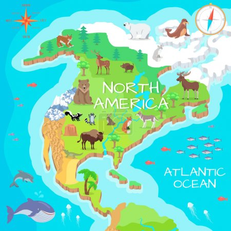 North America Isometric Map with Flora and Fauna.