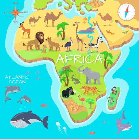Illustration pour Afrique continentale cartoon carte avec la faune locale. Mignons animaux africains vecteur plat. Un prédateur de Savannah. Espèces désertiques. Faune sauvage de la jungle. La vie dans l'océan Atlantique. Concept de nature pour enfants s livre illustrant - image libre de droit