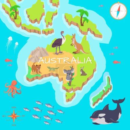 Illustration pour Carte isométrique de l'Australie avec flore et faune. Cartographie concept avec la nature. Carte géographique avec faune locale. Australie continent avec mammifères et vie marine. Illustration vectorielle pour enfants - image libre de droit