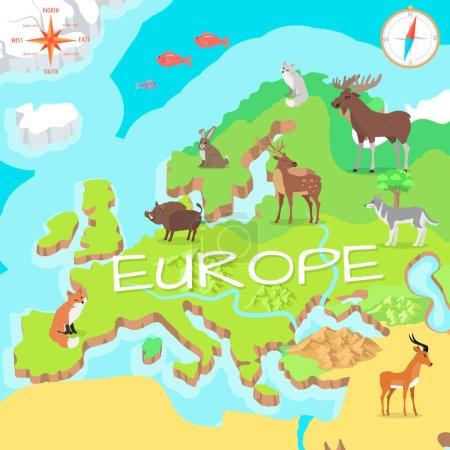 Illustration pour Carte isométrique de l'Europe avec flore et faune. Cartographie concept avec la nature. Carte géographique avec faune locale. Europe partie du continent avec mammifères et vie marine. Illustration vectorielle pour enfants - image libre de droit