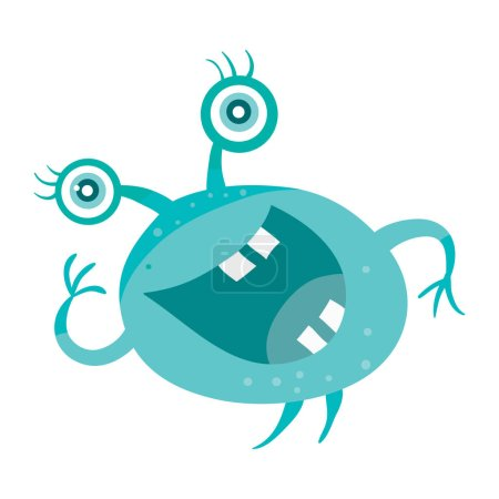 Illustration for Cartoon blue microorganism. Funny smiling germ. Character with big eyes on head. Monster bacteria with tooth, hands, open mouth. Vector funny illustration in flat design. Friendly virus. Microbe face - Royalty Free Image