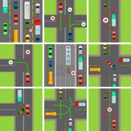 Set of Situations on Road. Traffic Laws Govern
