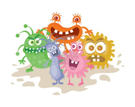 Illustration for Set of cartoon monsters. Funny smiling germs. Character with big eyes. Microorganism bacterias with tooth, hands, open mouth. Vector funny illustration in flat design. Friendly viruses. Microbe faces - Royalty Free Image
