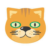 Cat mask isolated on white Leopard or jaguar cat Cartoon character face to celebrate happy events at kindergarten birthday children holiday festival Sticker for toddler Vector in flat style