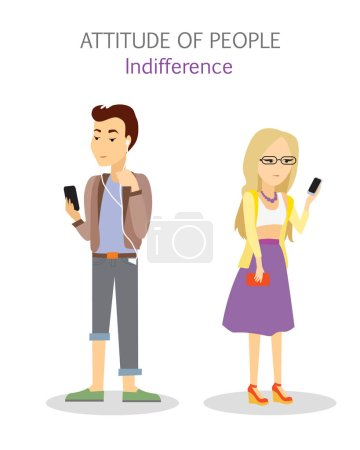 Attitude of people. Indifference. Apathy teenagers...
