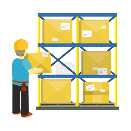 Goods Receiving and Stocking Concept in Flat Style