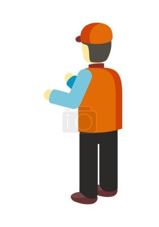Worker in Uniform Illustration in Flat Design