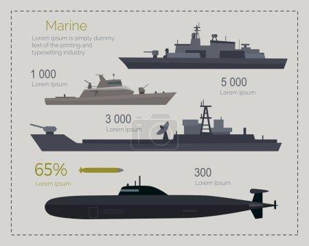 Naval ships infographics. Cruiser, landing and coa...