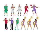 Fotbalové hráče, trenéry, cheerleadingu dívky