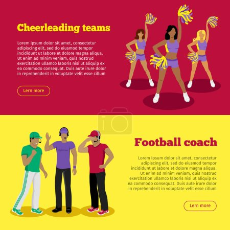 Cheerleading Teams and Football Coach Web Banners