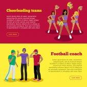 Cheerleading Teams and Football Coach Web Banners