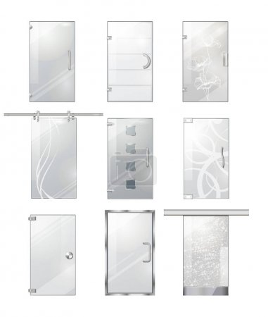 Transparent Glass Clear Door Collection on White