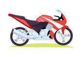 Black and Red Modern Motorbike on White Background