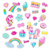 Girls Fairy Stickers With Fairy Cartoons Vectors