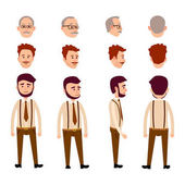 Set of front rear and side view of three men on white background Two people shows only head with hair and mustache but young boy with beard depicts in full-length Vector illustration web banner