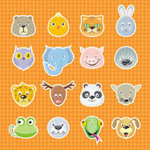 Collection of cute face animal Animal head icon set Cartoon animal head collection Forest animal portrait flat icons set Isolated object in flat design on white background Vector illustration