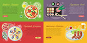 National dishes and drinks web banners Pizza beer sausage sushi sea food horizontal concepts on abstract background German Japanese Italian Spanish cuisine famous meals For restaurants page