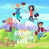 Enjoy Your Life Weekend or Holiday Jumping People
