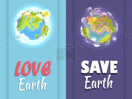Love and Save Earth colorful card with two parts s...