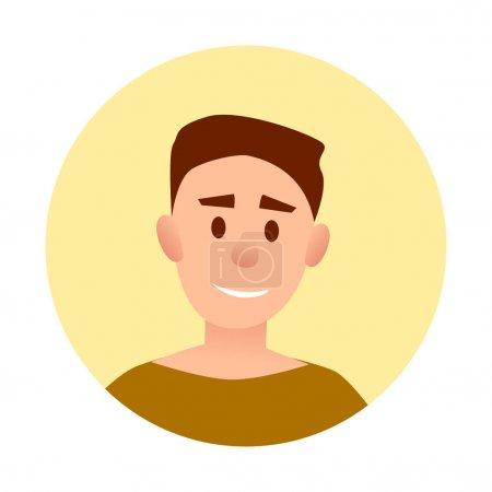 Illustration pour Adolescent beau garçon avec large sourire avatar userpic isolé vecteur illustration sur fond blanc. Portrait d'enfant heureux - image libre de droit