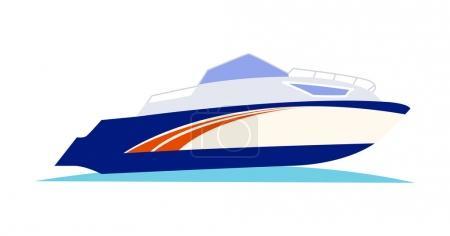 Blue and Orange Speed Motorboat on White Background
