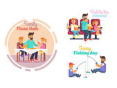 Fathers Day Poster with Dad and Children Vector
