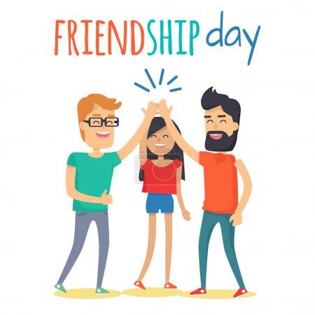 Illustration pour Célébration du concept de journée de l'amitié. Deux personnages de dessins animés hommes et femmes battant des mains en haut vecteur plat de cinq gestes sur fond blanc. Heureux amis ensemble illustration pour carte de vœux - image libre de droit