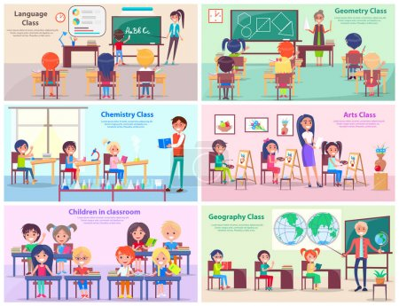 Illustration for Kids study language, draw at geometry, do experiments at chemistry, paint in arts class and explore world with geography teacher vector illustrations. - Royalty Free Image