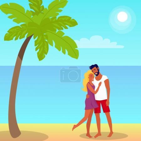 Para stoi i uściski na plaży w cieniu Palm