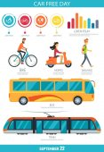 Car Free Day September 22 Vector Illustration