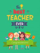 Best Teacher Ever Promo Vector Illustration