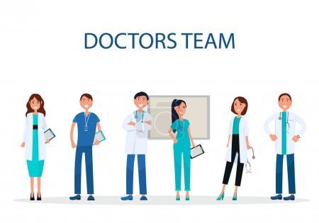 Illustration pour Équipe de médecins sur blanc. Des gens qui dispensent des soins habillés en uniforme. Travailleurs de la santé avec stéthoscopes et comprimés illustration vectorielle - image libre de droit