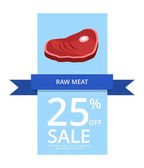 Raw meat 25 off sale vector illustration on light-blue and white background with image of ham followed by your own text below the picture